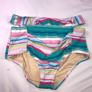 Unique Vintage Bight Striped High Waisted Bottoms